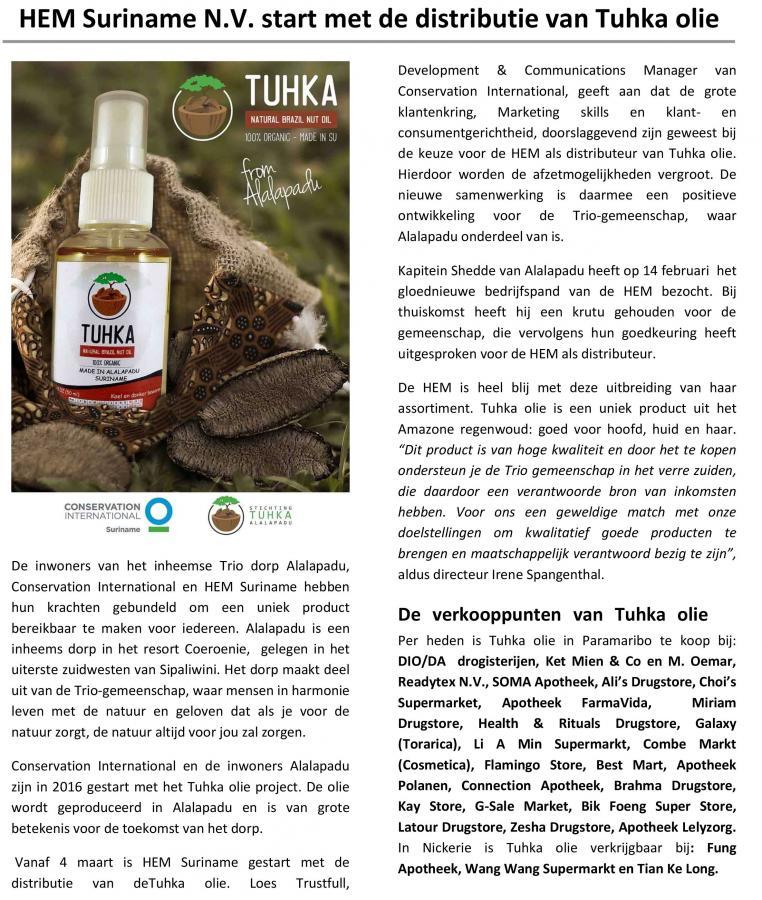 HEM Suriname N.V. starts with the distribution of Tuhka oil
